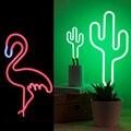 Retro flamingo cactus sinal de néon tubo vidro real artesanato festa decoração da casa led tubo luz usb mesa energia conduziu a lâmpada iluminação