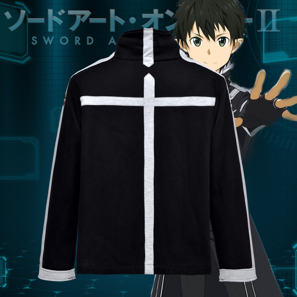 Anime SAO Sword Art Online II Kirito Black Cotton Fleece Hoodie Zipper Coat Sweatshirt Autumn Jacket Casual Clothes in Hoodies amp Sweatshirts from Men 39 s Clothing