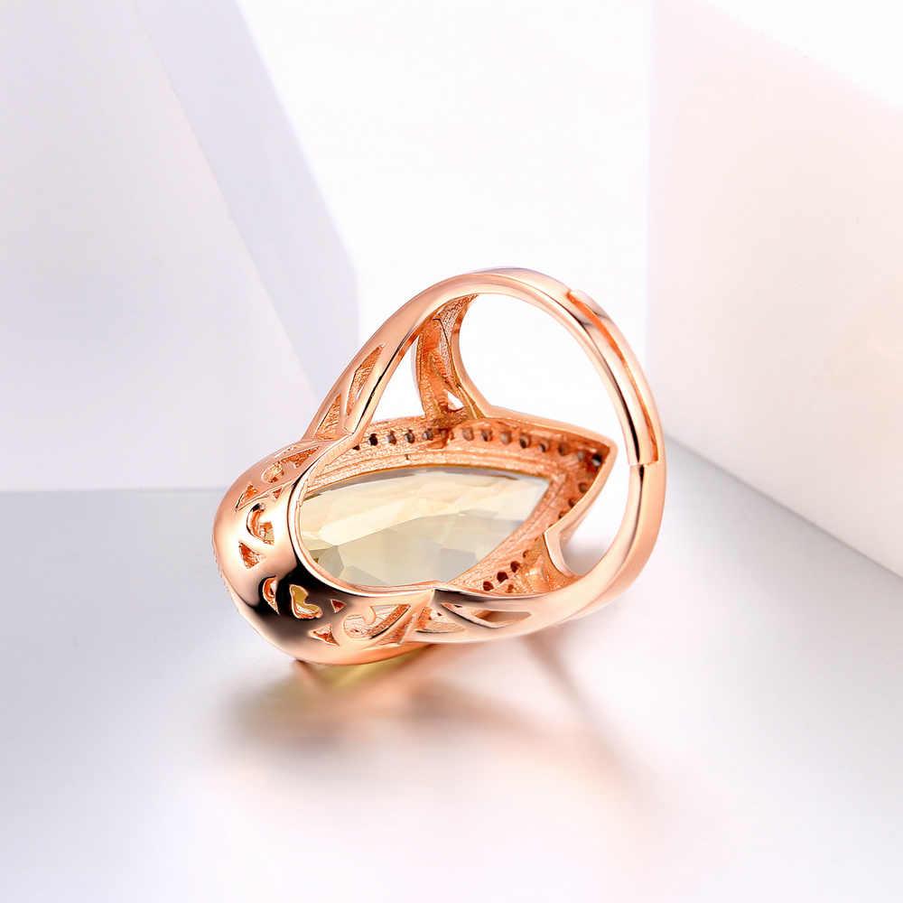 MoBuy MBRI041หรูหราธรรมชาติพลอยซิทรินหินแหวนเงินแท้925 Rose Gold Platedแต่งงานS925เครื่องประดับสำหรับผู้หญิง