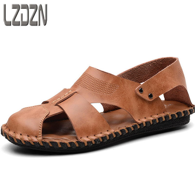 leather mens sandals all-match men casual shoes sandals Sneakers male Slippers Flip Flops Summer Shoes beach outdoor breathabl
