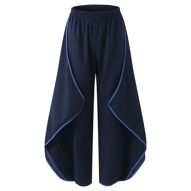 2018 Autumn Women Elastic Waist Loose Solid Casual Cotton Linen Harem Trousers Loose Streetpants Pantalon Femme   Wide     Leg     Pants