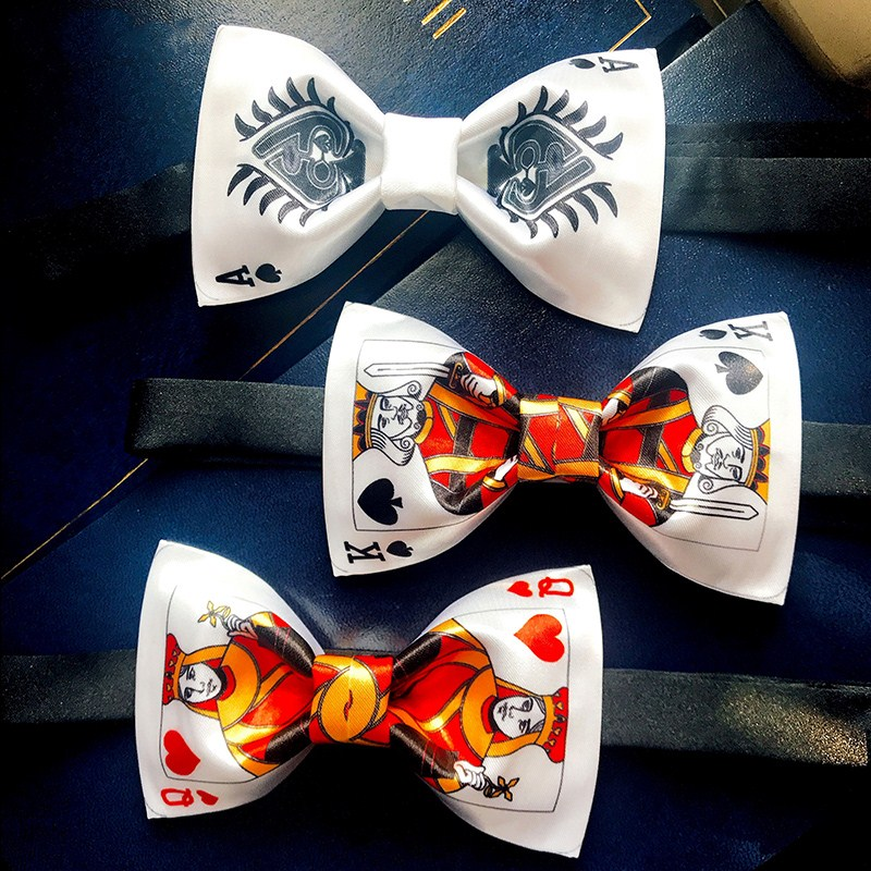 2019 summer novelty poker K/flag/A printing bowtie bow knot tie/bow tie/stage event/stage performance tuxedo bow tie