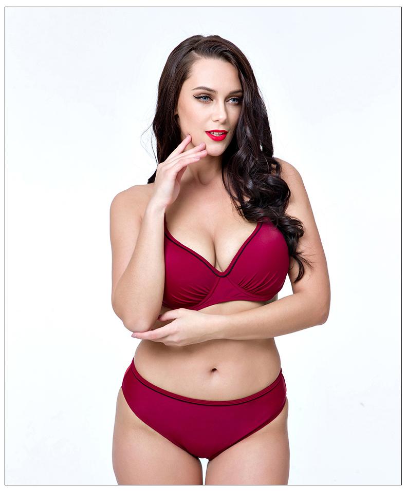 672868c359 2019 2017 Women Swimwear Sexy Fat Wear Plus Size Bikini Set Bathing ...
