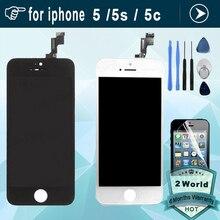 Calidad aaa sin píxeles muertos para iphone 5 5s 5c se para la exhibición Iphone5 LCD Touch Screen Reemplazo Digitalizador Asamblea + film + herramienta