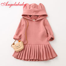2019 Girls New Spring and Autumn Long Sleeve Sweaters Dress Children's Hoodie Shape Girls Clothes Pleated Dresses Cute Ear Hats(China)