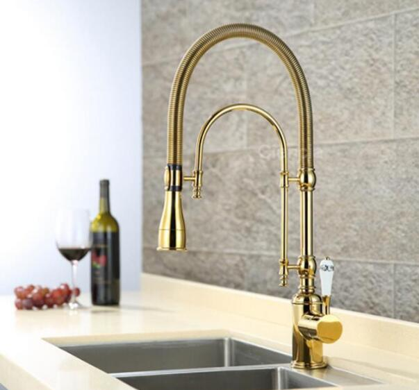 European style brass Gold/Chrome finished kitchen faucet Pull Out dish basin spring sink mixer multi function rotating water tap