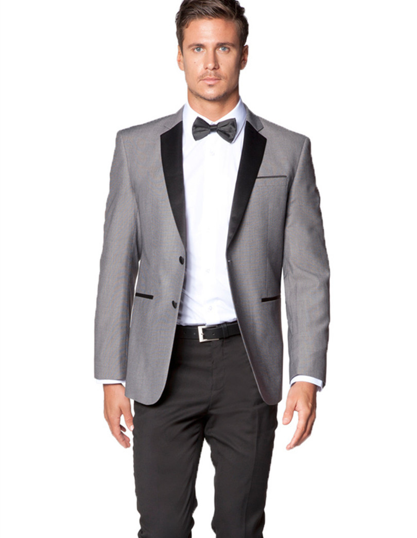 gray wedding tuxedo for men bridegroom suits wool bleed groom wear ...