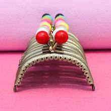 Wholesale 8.5 CM Bronze Metal Coining Pattern Coin Purse Frame,11 Color Candy Head Bag Kiss Clasp DIY Bag Frame Accessories(China)