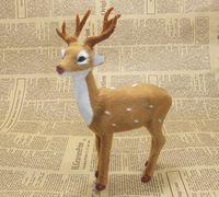 Simulation Animal Sika Deer Model 20x17cm Toy Polyethylene Furs Resin Handicraft Props Christmas Gift Home Decoration