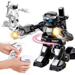 2.4g corpo sentido batalha robô de controle remoto rc robô inteligente combate brinquedos para crianças presente brinquedo com caixa luz e som boxer