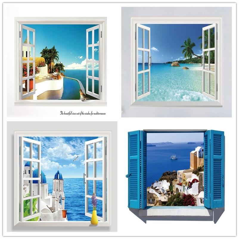 3D Abnehmbare Strand Meer 3D Fenster Landschaft Wand Aufkleber Home Decor Decals Mural Wasserdicht Kunst Wand Papier Plakat Kostenloser Versand