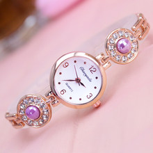2018 top famous brand Hand catenary watch with diamond pearl beautiful girl female clock quatrz high quality casual wristwatch(China)