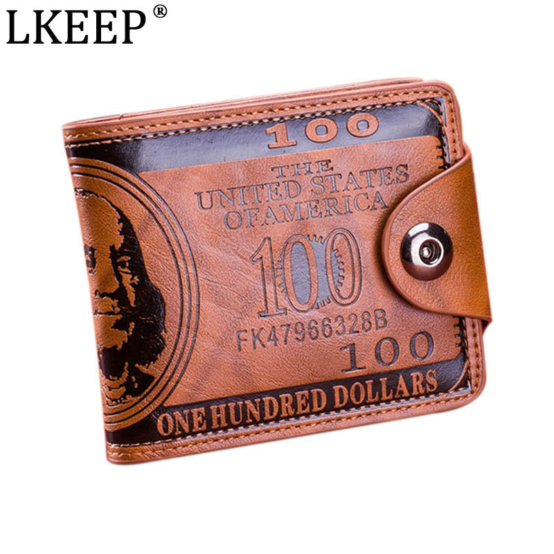Fashion Dollar Pattern Card Holder Men Wallets Cash Clutch Pocket Wallet Fashion Short PU Leather Wallet Coin Purse  2 Colors