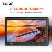 Eyoyo 10 inch 1366x768 HDMI portable usb monitor Kitchen IPS LCD Screen Display DVD Input Remote Control CCTV Camera Screen