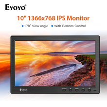 Eyoyo 10 inch 1366x768 HDMI portable usb monitor Kitchen IPS LCD Screen Display DVD Input Remote Control CCTV Camera