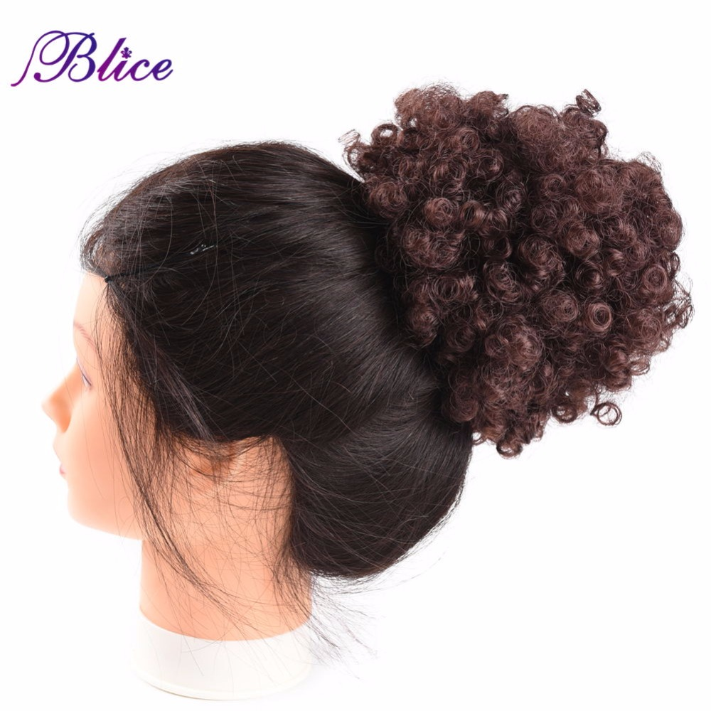Blice Pure Color Womens Curly Chignon With Two Plastic Clips