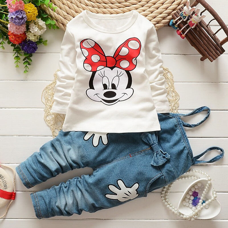 New Kids Clothes Girls Set Cartoon Minnie Autumn 2017 Baby Long Sleeve T shirt + Denim Overalls Children Clothing Sets Girl Suit cotton baby rompers set newborn clothes baby clothing boys girls cartoon jumpsuits long sleeve overalls coveralls autumn winter