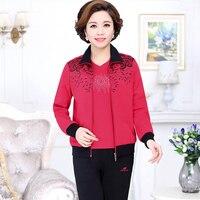 Orta yaş kadın takım elbise bahar sonbahar bayanlar büyük boy eğlence takım elbise 3 parça set (ceket + gömlek + pantolon) spor