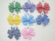 Gingham ลายสก๊อตผม bows คลิป stripe V Pinwheel เจ้าหญิง Hairbows ตัวอักษรสำหรับหญิงสาวผมอุปกรณ์เสริม 100PCS HD3355