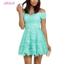 Off Shoulder Mini Lace Homecoming Dress Robe Vert Menthe A-Line Sleeveless Tulle Cocktail Gowns 2019 Elegant Short Prom Dresses