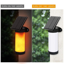 Street Outside Solar Lights Torch Human Body Induction Flame Lights Waterproof Flickering LED Simulated Flame Wall Lamp(China)