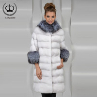 New Natural 100% Mink Fur Coat For Women Warm Winter Real Fur Coats Luxury Silver Fox Fur Collar and Sleeve 2018 Real MKW 007