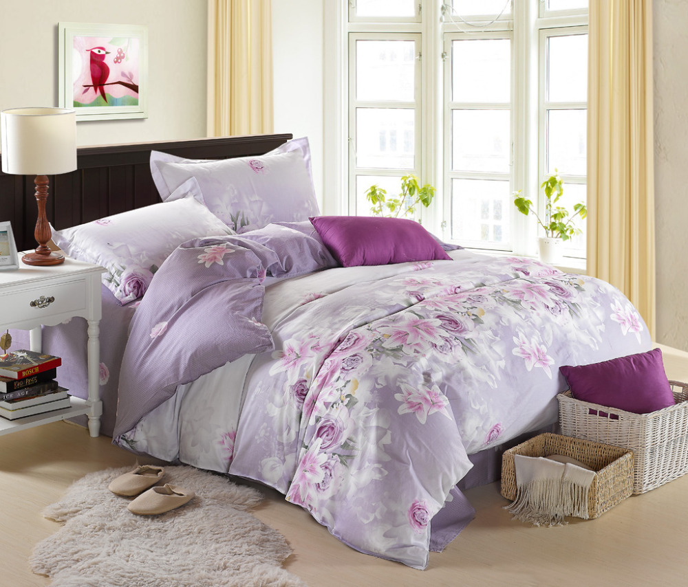 purple flower bed sheets  bedding sets - luxury bedding duvet cover set purple flower twin full