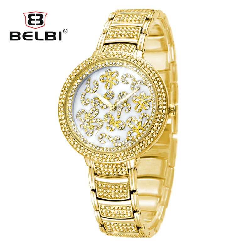 BELBI Luxury Brand Genuine Alloy Steel Quartz Watch Fashion Full Diamond Big Dial Women Watches Gold Wristwatch Relogio Feminino binger trendy women man steel rhinestone watch luxury brand design cz diamond watches white big dial 200m waterproof wristwatch