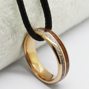 Image 4 - Mens Classic Love Jewelry Trendy Wedding Ring For Women Rose Golden Tungsten Ring Meteorite Wood Inlay Engagement Ring
