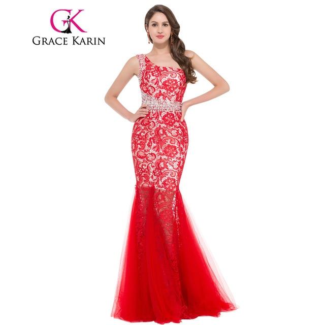 Grace karin schulter abendkleid trompete mermaid kleider lange ...
