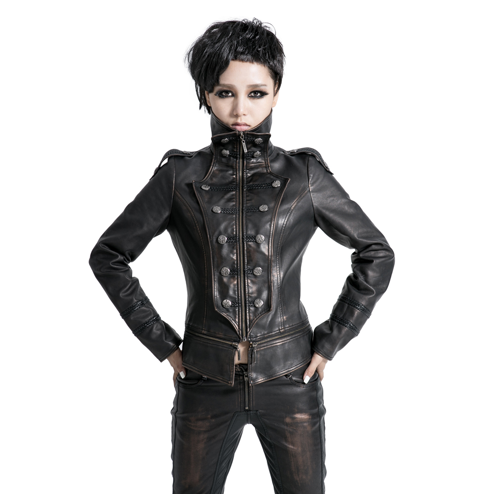 Punk Gothic Clothing Punk Military Dovetail Women Leather Coat Slim Fit Jacket In Leather