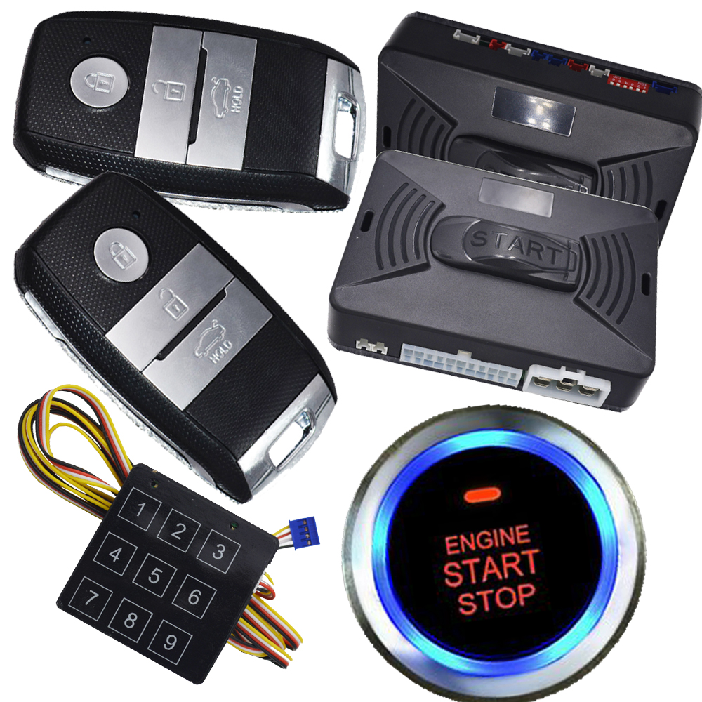 auto car anti theft alarm system with engine start stop button auto central lock system remote car alarm system password unlock купить недорого в Москве