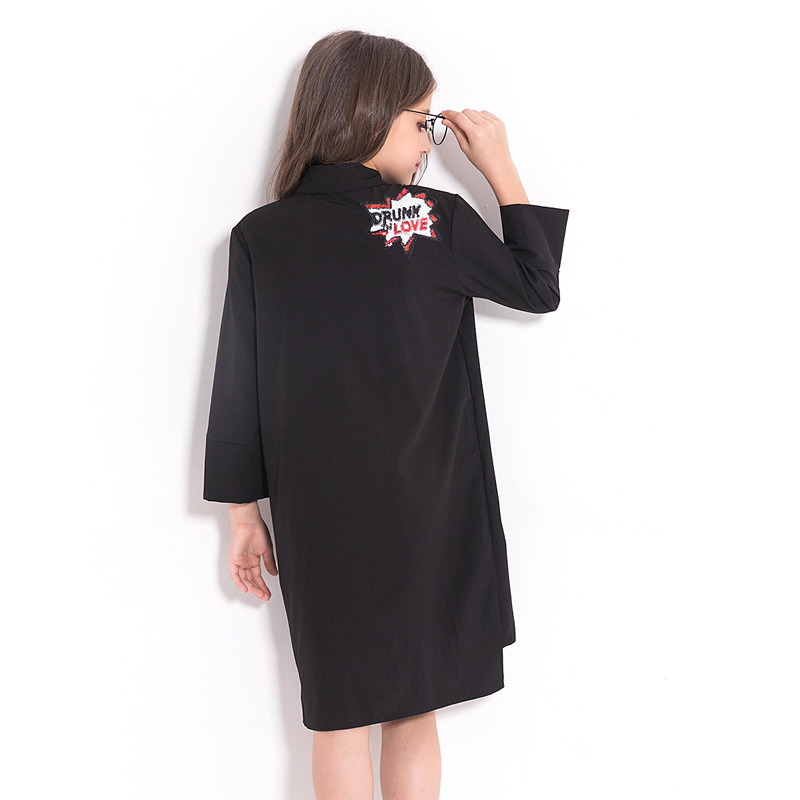 Image 3 - Children Dress Black Chiffon Blouse for Girls Teenage Girls Clothing 5 7 9 10 12 14 years Long Sleeve Sequined Kid Girl Dress-in Dresses from Mother & Kids
