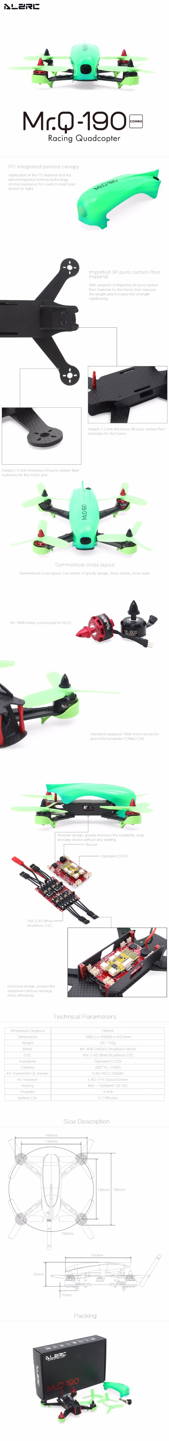 ALZRC – Mr.Q 190 Four-Axis Racing Aircraft 3K Pure Carbon Fiber RC Drones (With 4XMotor and 4XESC and 1XCC3D) Free shipping