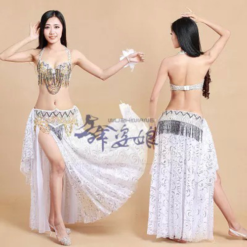 high quality fully hand made sewed Belly Dance Costumes 3pcs/set Bra&Belt&Skirt S/M/L nice dancing Costume Wears for woman/lady