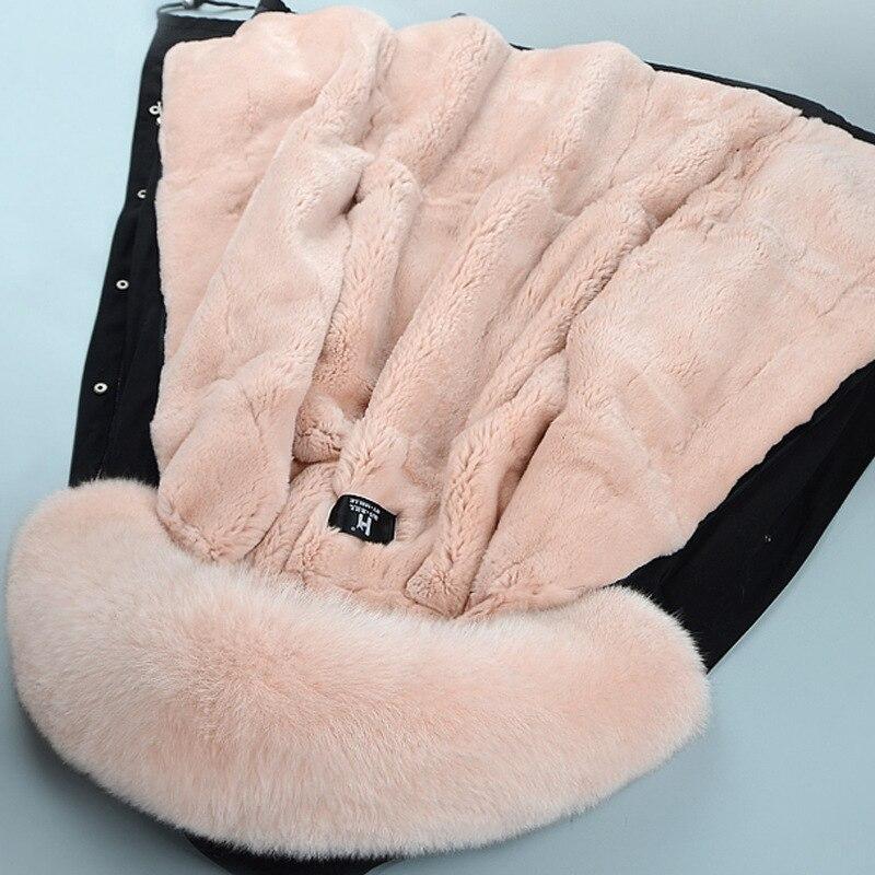 2018 Real Winter Women's Natural Fox Fur Collar Cap with Rex Rabbit Parker Coat Long Sleeve Big Size Women Fur Clothing