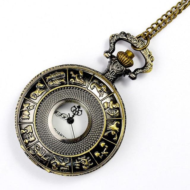 #5001New Vintage Bronze Zodiac Pendant Pocket Quartz Pocket Watch Necklace DROPS