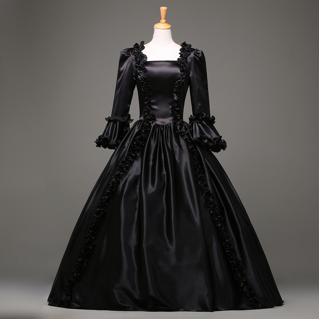 Medieval Black And White Gothic Wedding Ball Gown: Hot Sale 18th Century Gothic Vintage Prom Ball Gown