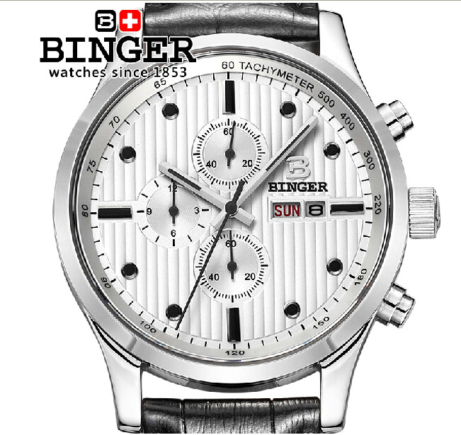 Switzerland watches men luxury brand Wristwatches BINGER Quartz men watches leather strap steel waterproof 100M clock BG-0402-5