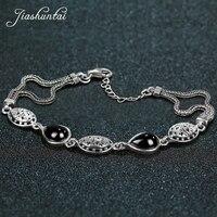 JIASHUNTAI Retro 925 Sterling Silver Chalcedony Agate Emerald Gemstone Bracelets For Women Thai silver Fine Jewelry Gift