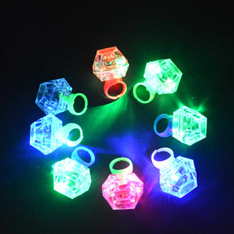 LED Glowing Diamond Finger Ring Novelty Flashing Light-up Toys Kids Birthday Gift Wedding Party Supplies