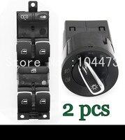 2Pcs Chrome Headlamp Switch Master Window Switch For VW Jetta Golf MK4 Beetle 3BD 959 857 3BD941531