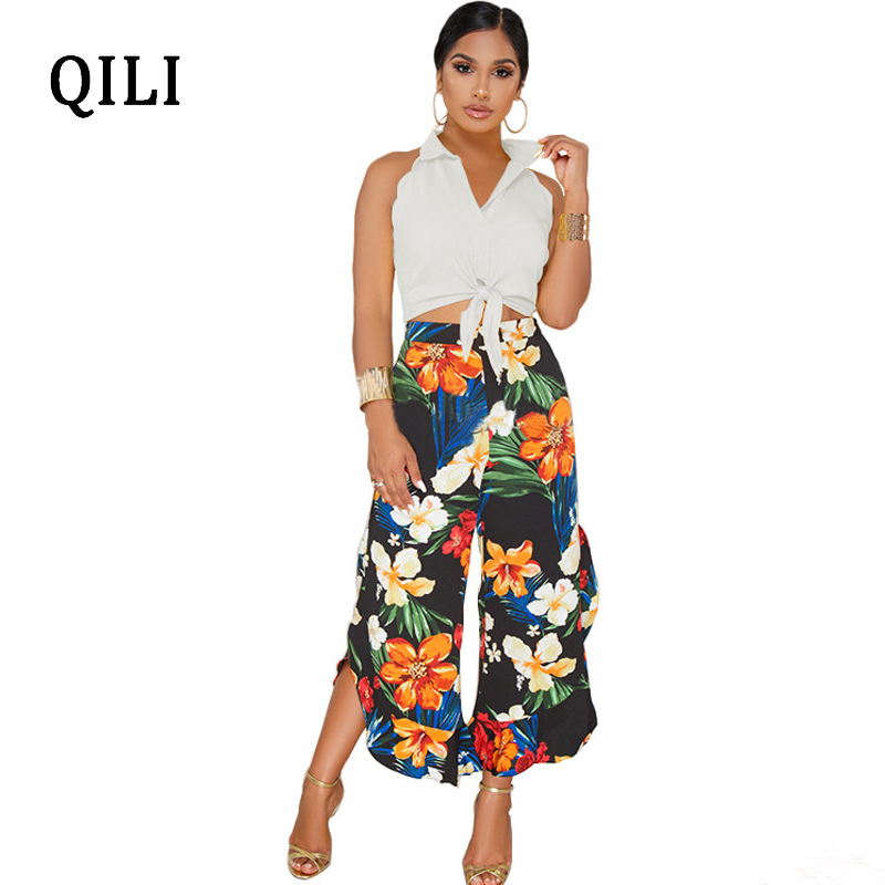 QILI New 2018 Jumpsuits Printed Two Piece Set Calf-Length Pants Wide Leg Pants Jumpsuit Bow Sleeveless Beach Casual Overall Lady
