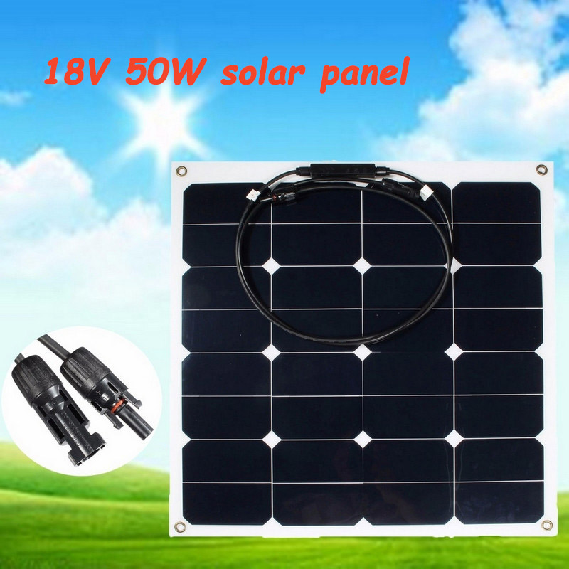 50W 18V Sunpower Solar Panel Semi Flexible Solar Board Power Generater For Battery RV Travel Car Boat Tourism Camping Car sp 36 120w 12v semi flexible monocrystalline solar panel waterproof high conversion efficiency for rv boat car 1 5m cable