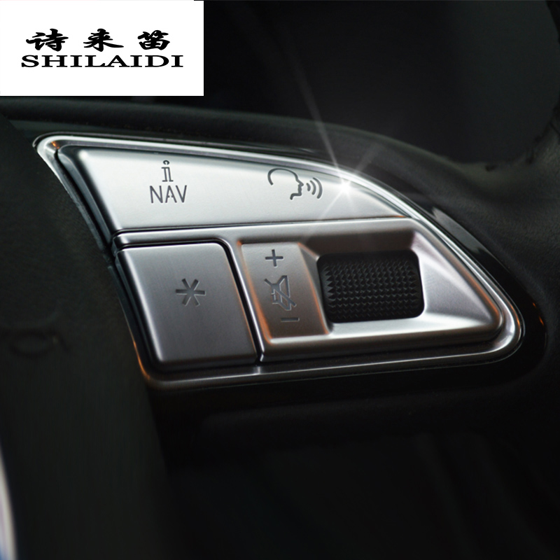 Car styling steering wheel buttons decoration Trim Covers stickers for Audi Q3 Q5 A1 A3 8V A4 B8 A5 A7 Interior auto Accessories