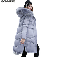 2017 Winter Jacket Eiderdown Cotton Outerwear Hooded Thickening Big Yards Coat Fashion Elegant Girls Long Style