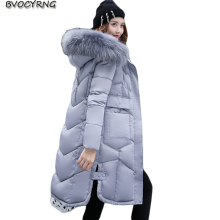 2017Winter Jacket Women Eiderdown Cotton Outerwear Hooded Thickening Big Yards Coat Fashion Elegant Girls Long Style Warm Parka1