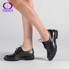 Retro Brogue Genuine PU Leather Woman Oxford Shoes British Style Vintage Cut-Outs Flat Shoes Casual Oxford Shoes for Women 2017 british style carving brogue woman shoes thick heel lace up oxford shoes for women casual leather flats rome vintage shoes