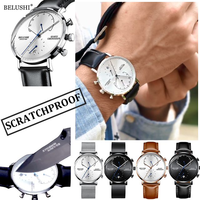 Mens Leather Strap Slim Quartz Casual Business Top Brand