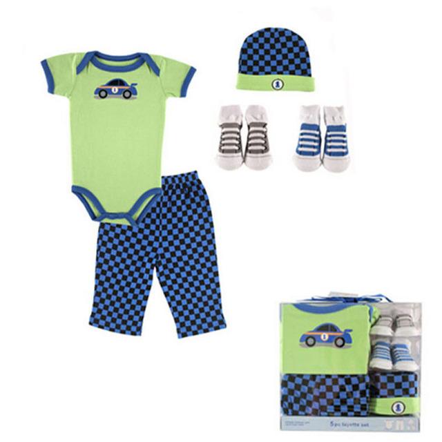 Novos 5 peças Baby Girl Boy Clothes 0-6m 2016 Cotton bebê recém-nascido Roupa Define Infants Suit Bebes Próximo Roupas de bebê